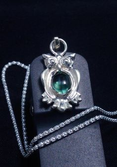 Items similar to Sterling Silver Owl Necklace. Owl Necklace, Crystal Necklace, Owl Pendant, Blue Crystals, Jewelry Box, Gifts For Her, Gemstones, Sterling Silver, Green