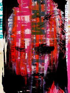 'Face with pink and red stripes' von Gabi Hampe bei artflakes.com als Poster oder Kunstdruck $18.02