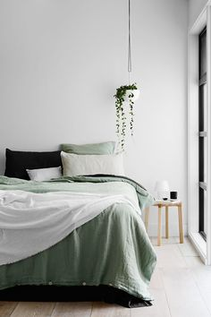 Monday but dreaming of Sunday. - Architecture and Home Decor - Bedroom - Bathroom - Kitchen And Living Room Interior Design Decorating Ideas - Bedroom Green, Home Bedroom, Bedroom Ideas, Master Bedroom, Modern Bedroom, Master Suite, Bedroom Alcove, Green Bedrooms, Bedroom Designs