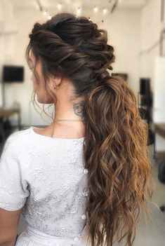 53 Best Ponytail Hairstyles { Low and High Ponytails } To Inspire , hairstyles weddinghair ponytails wedding hairstyles ponytail weddinghairstyles Prom hairstyle, easy ponytails, puff ponytails 556194622732088346 Messy Ponytail Hairstyles, 1980s Hairstyles, Glamorous Hairstyles, Going Out Hairstyles, Hairstyles For Night Out, Bohemian Wedding Hairstyles, Hairstyle Ideas, Hairstyles For Long Hair Prom, Hairstyles For Women