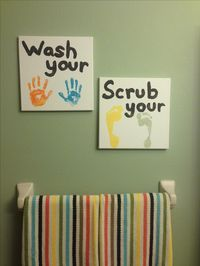 Kids bathroom art idea...must do. I need to have Sawyer do this then I can add Maggie's after she gets here :)