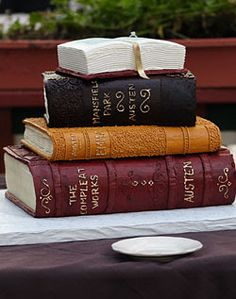 stacked books cake - Google Search