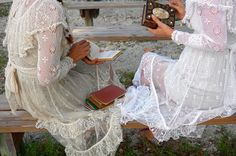 """Emily Bronte"" Vintage Hand Crochet Cotton Dress"