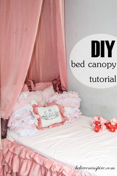 DIY Super easy bed canopy tutorial. Add a touch of coziness to your room with this EXTREMELY easy DIY canopy. Takes only half an hour to make and install. An easy and quick way to improve the look of your room by giving it a dreamy and romantic touch by adding a beautiful canopy. GET THE TUTORIAL NOW