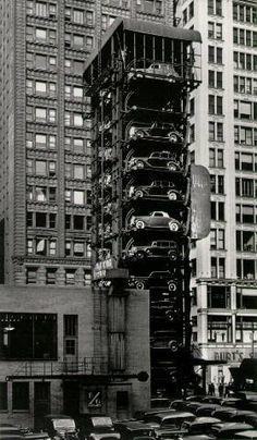 Elevator garage with parking lot, Chicago, 1936
