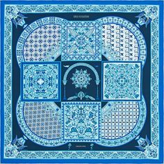 "Ciels Byzantins $450 Hermes silk twill scarf, hand rolled, 36"" x 36"" Designed by Julie Abadie  Ref. : H001935S 07"