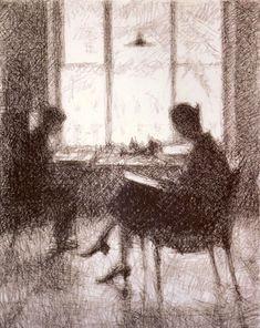 By the Window  -   Georgy Vereisky (G.S.Verey) 1928.Russian 1886-1962Italian pencil on paper ,62.5 х 47.2.