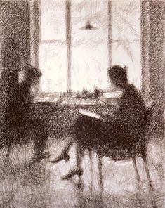 By the Window - Georgy Vereisky (G.S.Verey) 1928, Russian 1886-1962, Italian pencil on paper ,62.5 х 47.2.