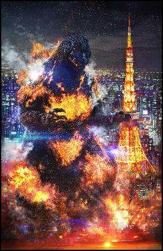 Godzilla vs. Destoroyah - Burning Godzilla by cheungchungtat