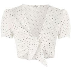 Polka Dot Crop Top by Oh My Love (£26) ❤ liked on Polyvore featuring tops, white, plunge-neck tops, short sleeve crop top, white tie front top, polka dot top and cut-out crop tops