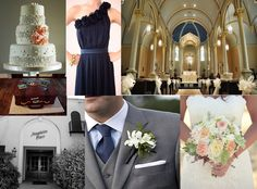 Navy, Gray & Peach Wedding...love the colors together! But I want some more fall inspiration...