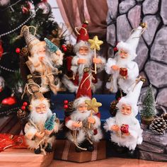 Candles 3pcs Christmas Candles Delicate Standing Santa Coloful Christmas Oranaments Store Decor Table Decorations For Party Home Candles & Holders