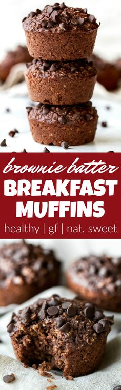 Brownie Batter Breakfast Muffins that are naturally sweetened and loaded with chocolate flavour! They're a deliciously healthy way to start your day or pull out whenever you need a satisfying snack | runningwithspoons.com