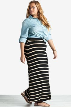 Plus Size Skirts | Stripe Maxi Skirt | A'GACI