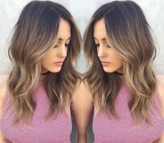 Ombre Hairstyle with Medium Wavy Hair
