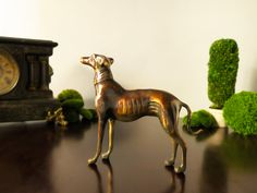 Vintage Bronze Greyhound Dog Doorstop LARGE Figurine Statue Sculpture Brass Dog Whippet Gold by InventifDesigns on Etsy