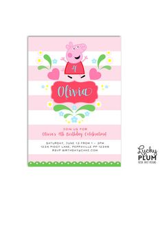 Peppa Pig Birthday Invitation Design / Who can resist a sweet Peppa Pig birthday. She sits on top this invite surrounded by hearts, flowers and leaves. Against a light pink striped background, there will be no mud at this birthday! / by LuckyPlumStudio