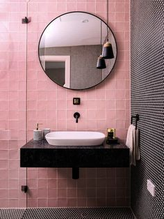 How to design a super stylish tiny bathroom With 13 renovated bathrooms under their belt (completed in under three years!), Three Birds Renovations are no strangers to a challenge. Bathroom Interior Design, Home Interior, Decor Interior Design, Interior Decorating, Bohemian Interior, Design Interiors, Bathroom Designs, Decorating Tips, Tiny Bathrooms