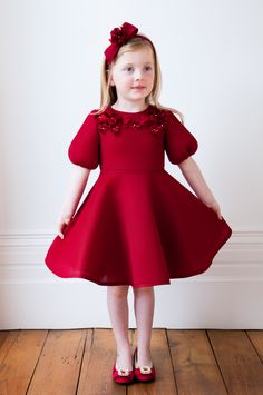 Marvel in the radiance of this Bordeaux red flared dream dress. The wait for the perfect party dress is over when you choose this vibrant evening ensemble. Red Flower Girl Dresses, Cute Little Girl Dresses, Toddler Girl Dresses, Lovely Dresses, Flower Girls, Baby Frocks Designs, Kids Frocks Design, Valentines Outfits, Holiday Outfits