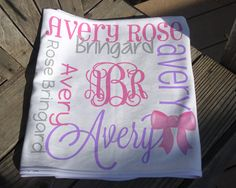Personalized Bow Baby Blanket - Monogrammed Bow Receiving Blanket for Girls - Custom Name Baby Blanket with Bows - Newborn Bow Blanket Newborn Bows, Baby Bows, Soft Baby Blankets, Receiving Blankets, Personalized Baby Blankets, Beautiful Baby Girl, Minky Fabric, Knot Headband