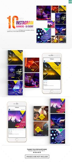 10 Instagram Post BannersDJ Event — Photoshop PSD #900x900 #cover • Download ➝ https://graphicriver.net/item/10-instagram-post-bannersdj-event/19031564?ref=pxcr