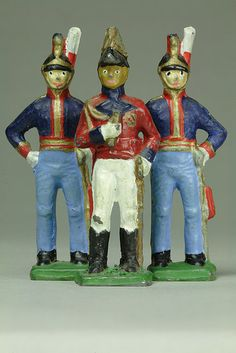 Painted Lead Soldiers. ca. 1948. In the early 20th century, inexpensive toy soldiers, were in great demand. Lead was cheap and easy to mold and paint. By 1966, however, fears of lead poisoning inspired laws that banned the manufacture of these popular soldiers and all toys containing lead.
