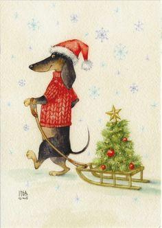 Illustration Noel, Winter Illustration, Christmas Illustration, Watercolor Illustration, Illustrations, Diy Xmas, Christmas Crafts, Christmas Mood, Vintage Christmas