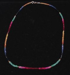 Blue sapphire, yellow sapphire, ruby and emerald Chakra Opening necklace. $230