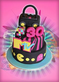 80s Theme Cake by Cute Sweet Thing, via Flickr