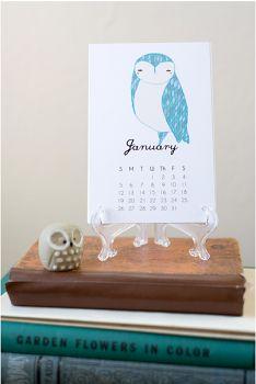 2016 owls desktop calendar