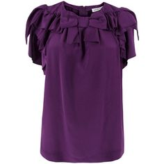 See By Chloe Lc87500-T6929 Purple Silk Shirt ($204) ❤ liked on Polyvore featuring tops, blouses, shirts, blusas, women, frilly blouse, silk ruffle blouse, ruffled shirts blouses, cap sleeve shirt and frilly shirt