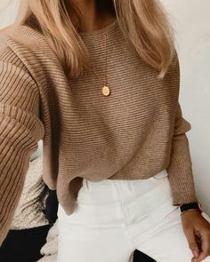 cableknit sweater + gold disc necklace + white pants outfit blonde hair ideas best fall and winter outfits for teens casual everyday outfits for teens Edgy Outfits, Cute Outfits, Fashion Outfits, Fashion Clothes, Denim Outfits, Workwear Fashion, Black Outfits, Work Outfits, Teenager Style