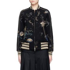 Valentino Cosmos embroidered wool bomber jacket (£8,640) ❤ liked on Polyvore featuring outerwear, jackets, metallic bomber jacket, bomber style jacket, flight jacket, reversible jacket and bomber jacket
