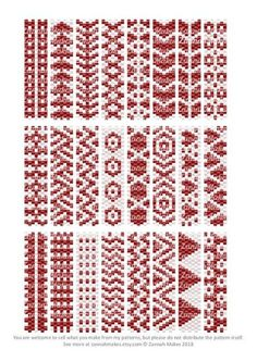 2 Colour Carrier Bead Patterns, Odd Count Peyote, Two-Colour Patterns, Full Word Charts, Red and White - Her Crochet Peyote Stitch Patterns, Bead Loom Patterns, Beaded Jewelry Patterns, Beading Patterns, Color Patterns, Bead Loom Designs, Beading Projects, Beading Tutorials, Tutorial Anillo