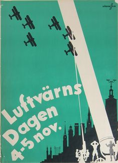 Hallå!: 25 Vintage Posters from Sweden - 50 Watts  Air Defense day, 1933