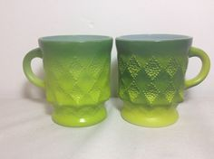 cute green mugs for coffee St Patrick's Day morning! Fire King Kimberly Green Mugs Lot of 2 Made In USA #St Patrick's Day