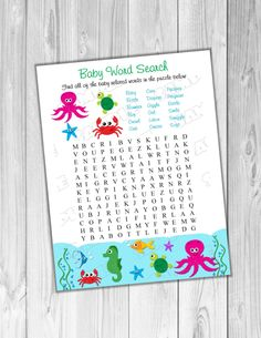 Under the sea Baby shower games Word search game Printable INSTANT DOWNLOAD  UPrint  by greenmelonstudios under the sea baby shower by greenmelonstudios on Etsy