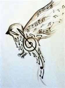 MUSICAL BIRD >>>> Music note bird Stencil..my personal favourite .. a creative stencil for a wall ...i think black and white says it best here ...kids love music !!! .. and all that is fun !!!