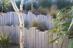 vertical log retaining wall - Google Search
