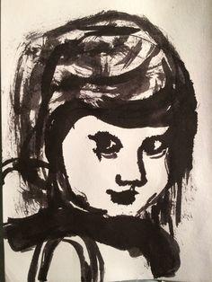 opdracht Zelfportret met Chinese inkt