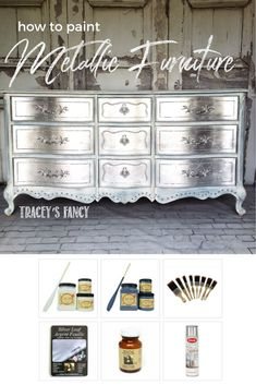 How to Silver Leaf Furniture – DIY Furniture Finish Gorgeous & Glam Silver Metallic Dresser ! Diy Garden Furniture, My Furniture, Repurposed Furniture, Furniture Projects, Refurbished Furniture, Unique Furniture, Rustic Furniture, Furniture Stores, Furniture Dolly
