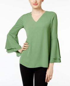 Layered ruffle bell sleeves bring the perfect amount of flounce to this sophisticated top from Alfani. | Polyester | Machine washable | Imported | V-neckline  | Pullover styling  | Long layered ruffle