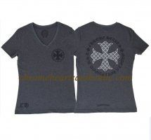 Chrome Hearts V74 Grey V Neck Cross T-shirt For Sale