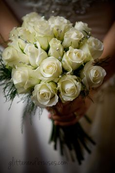 White Roses with Glitter and Rhinestones (Bridal Bouquet), My Big Greek Winter Christmas Wedding