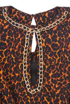 RELISH - Vestido estampado en print de leopardo color naranja y negro 119,00 €