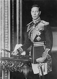 George VI (1895 -1952) was the king of Great Britain in 1936 - 1952. George VI was not only the United Kingdom of Great Britain and Northern Ireland and Overseas Dominions ruler, also the last Emperor of India by the year 1947, the last king of Ireland until 1949 and the last king of Pakistan until 1952 . George VI unexpectedly rose to the throne of his brother Edward VIII gave up the throne. King George VI of England, formal photo portrait, circa 1940-1946.jpg