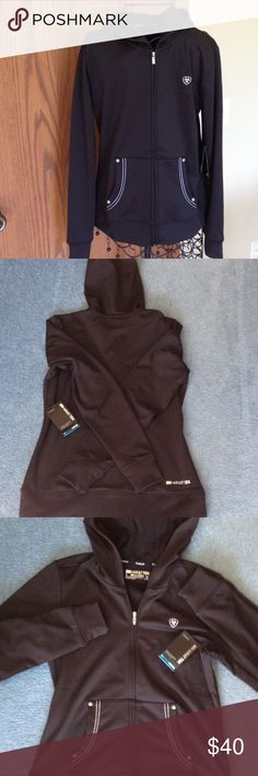"""Black ARIAT TEK long sleeve hoodie NWT Zip front, stretchy, front pockets with stitch detail. Length 23"""", across front 18 1/2"""". NEW WITH TAG. Ariattek Other"""