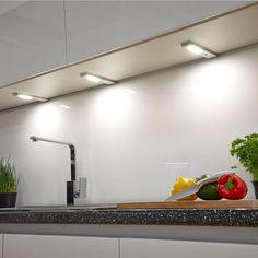 New Sensio SLS Quadra - under, in and over Cabinet Lighting Over Cabinet Lighting, Cool Lighting, Laundry Room Lighting, Kitchen Lighting, Rigid Led Light Bar, Kitchen Cabinet Styles, Lighting Solutions, Room Lights, Ceiling Design