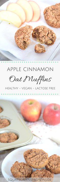 Apple Cinnamon Oat Muffins - Healthy Vegan Lactose Free - Apfel Zimt Hafer Muffins gesund vegan laktosefrei glutenfrei - Squats, Greens & Proteins