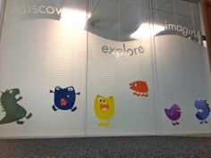 Monster graphics on glass at Weston Town Hall - printed by Create Signs. Window Glass Design, Window Graphics, Town Hall, Ceilings, Toy Chest, Floors, Walls, Windows, Signs
